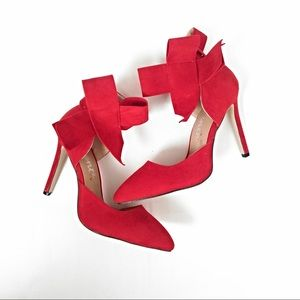 Shoes - Suede Bow Heels